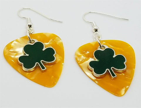 Green Shamrock Charm Guitar Pick Earrings - Pick Your Color