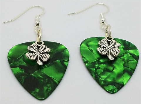 Small Shamrock Charm Guitar Pick Earrings - Pick Your Color