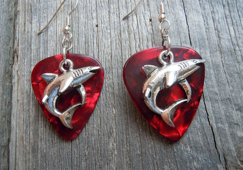 Shark Charm Guitar Pick Earrings - Pick Your Color