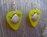 Seashell Charm Guitar Pick Earrings - Pick Your Color