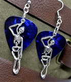 Hanging Skeleton Guitar Pick Earrings - Pick Your Color