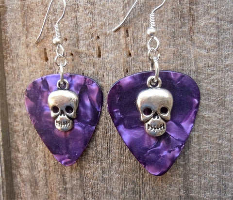 Small Skull Charm Guitar Pick Earrings - Pick Your Color