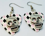 Skull Charm Guitar Pick Earrings - Pick Your Color