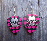 Skull and Crossbone Charms Guitar Pick Earrings - Pick Your Color