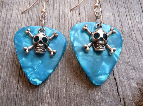 Small Skull and Crossbones Charm Guitar Pick Earrings - Pick Your Color
