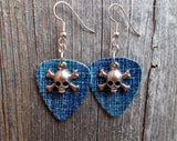 Small Skull and Crossbone Charms Guitar Pick Earrings - Pick Your Color