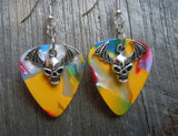 Bat Skull Charm Guitar Pick Earrings - Pick Your Color
