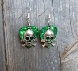Skull and Crossbones Charm Guitar Pick Earrings - Pick Your Color