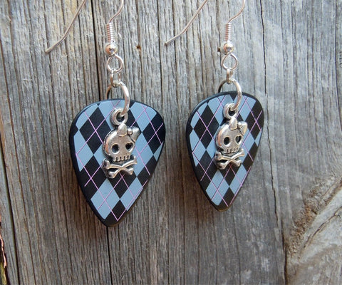 Girl Skull and Crossbone Charm Guitar Pick Earrings - Pick Your Color