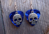 Decorated Sugar Skull Silver Charm Guitar Pick Earrings - Pick Your Color