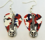 Guitar with Skull Charms Guitar Pick Earrings - Pick Your Color