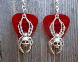 Skull Spider Charm Guitar Pick Earrings - Pick Your Color