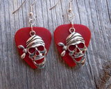Pirate Skull with Bandanna Charm Guitar Pick Earrings - Pick Your Color