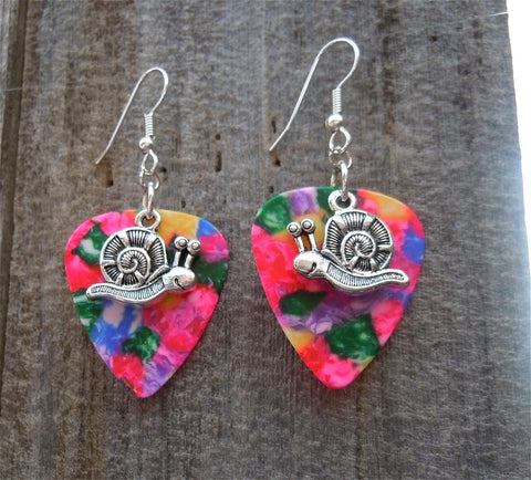 Snail Charm Guitar Pick Earrings - Pick Your Color