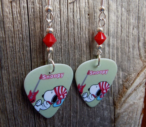 Snoopy with a Guitar and Striped Hat Guitar Pick Earrings with Red Swarovski Crystals