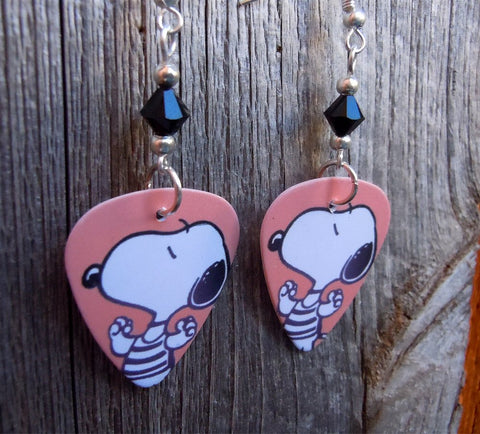 Snoopy in a Striped Shirt Guitar Pick Earrings with Black Swarovski Crystals