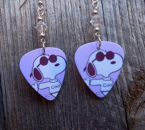 Cool Snoopy with Sunglasses Guitar Pick Earrings with Clear Swarovski Crystals