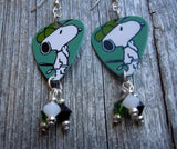 Snoopy with a Baseball Cap Guitar Pick Earrings with Crystal Dangles