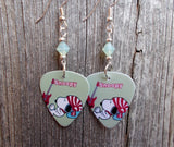 Snoopy with a Guitar and Striped Hat Guitar Pick Earrings with Swarovski Pacific Opal Crystals
