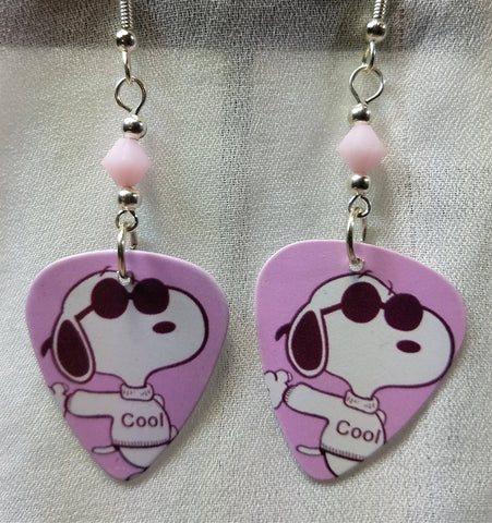 Cool Snoopy with Sunglasses Guitar Pick Earrings with Pink Alabaster Swarovski Crystals