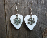 Snowflake Charm Guitar Pick Earrings - Pick Your Color