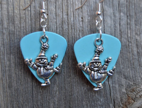 Snowman Charm Guitar Pick Earrings - Pick Your Color