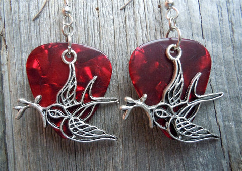 Old School Tattoo Style Sparrow Charm Guitar Pick Earrings - Pick Your Color