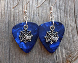 Spiderweb with Spider Charm Guitar Pick Earrings - Pick Your Color