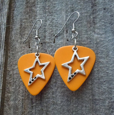 Crooked Star Charm Guitar Pick Earrings - Pick Your Color
