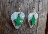Green Star Charm Guitar Pick Earrings - Pick Your Color
