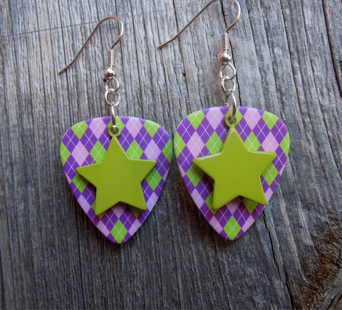 Lime Green Star Charm Guitar Pick Earrings - Pick Your Color