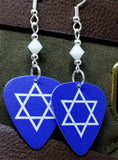 Star of David Guitar Pick Earrings with White Alabaster Swarovski Crystals