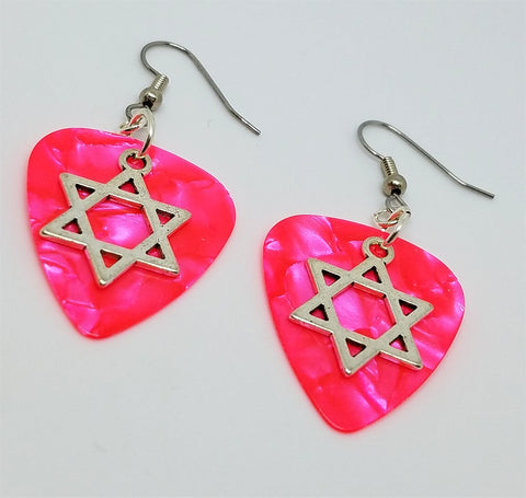 Star of David Charm Guitar Pick Earrings - Pick Your Color