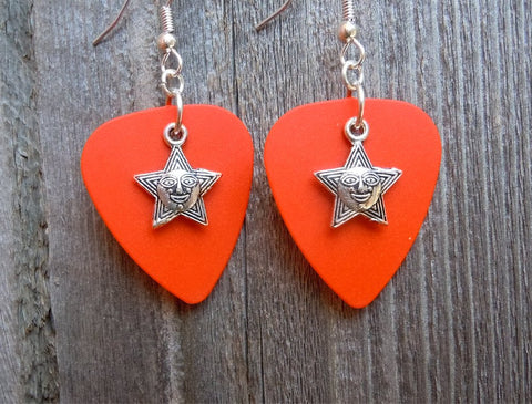Star with Face Charm Guitar Pick Earrings - Pick Your Color