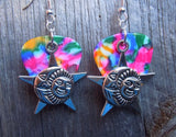 Sun, Moon and Star with Faces Charm Guitar Pick Earrings - Pick Your Color