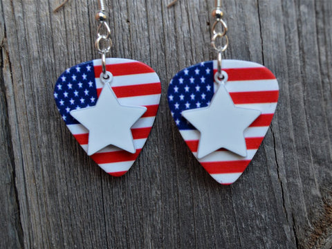White Star Charm Guitar Pick Earrings - Pick Your Color