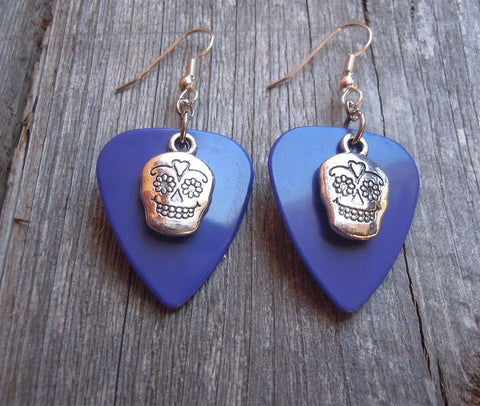 Small Decorated Sugar Skull Charm Guitar Pick Earrings - Pick Your Color