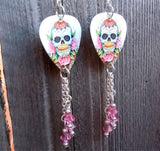 Sugar Skull and Pink Roses Guitar Pick Earrings with Pink Crystal Dangles