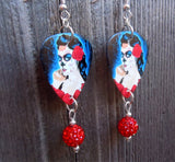 Beautiful Sugar Skull Woman with a Rose In Her Hair Guitar Pick Earrings with Red Pave Bead Dangles
