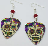 Colorful Sugar Skull Guitar Pick Earrings with Opaque Red Swarovski Crystals