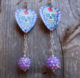 Purple Diagonal Stripes Background Sugar Skull Guitar Pick Earrings with Purple Studded Rhinestone Dangles