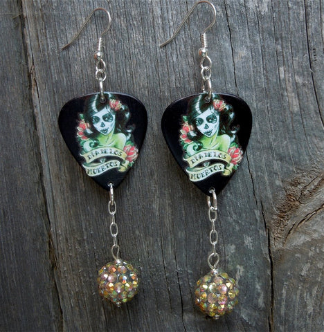 Red and Green Sugar Skull Guitar Pick Earrings with AB Rhinestone Bead Dangle