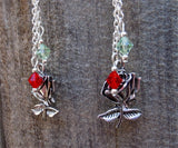 Red and Green Sugar Skull Guitar Pick Earrings with Silver Rose Charm and Swarovski Crystal Dangles