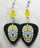 Colorful Sugar Skull Guitar Pick Earrings with Yellow Swarovski Crystals