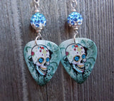 Sugar Skull on Distressed Background Guitar Pick Earrings with Blue Ombre Pave Bead