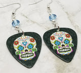 Colorful Sugar Skull Guitar Pick Earrings with Blue Swarovski Crystals
