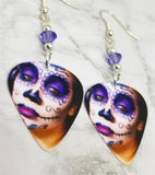 Woman Painted as a Sugar Skull Guitar Pick Earrings with Purple Swarovski Crystals