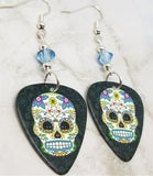 Colorful Flowery Sugar Skull Guitar Pick Earrings with Blue Swarovski Crystals