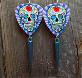 Purple and Blue Sugar Skull with Purple Striped Background Guitar Pick Earrings with Aqua Spike Dangles
