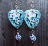 Sugar Skull on Distressed Background Guitar Pick Earrings with MultiColor Pave Dangles